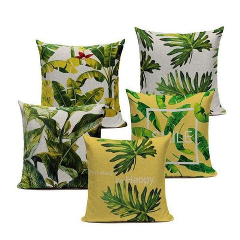 Tiptophomedecor Green Yellow Nature Cushion Covers