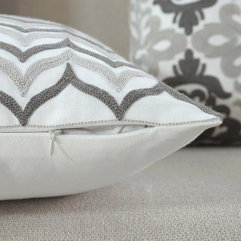 Grey Soft Pink Embroidered Geometric Cushion Covers-Tiptophomedecor-Interior-Design-Home-Decor