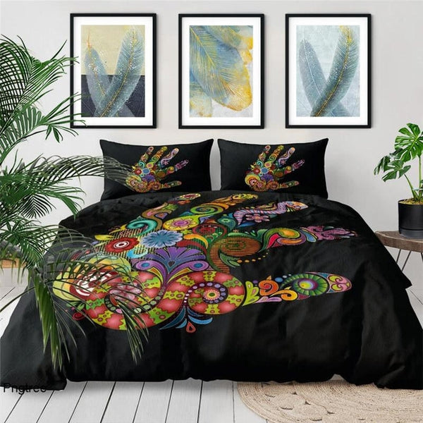 Hamsa Hand Spiritual Yoga Meditation Bedding Duvet Cover Set-TipTopHomeDecor