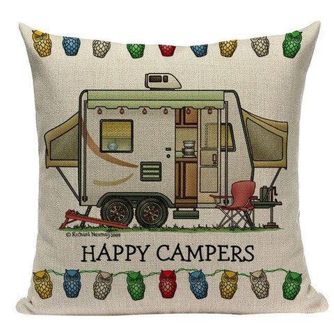 Happy Campers Throw Pillow Cases Cushion Covers-Tiptophomedecor-Interior-Design-Home-Decor