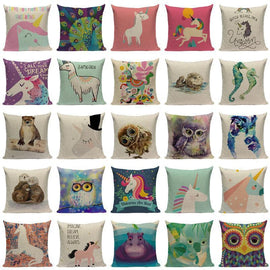 Happy Cartoon Watercolor Animal Cushion Covers-Tiptophomedecor