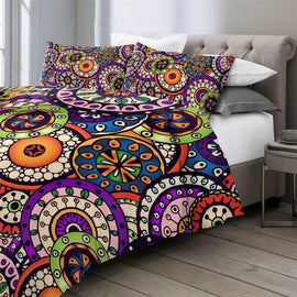 Happy Colorful Bohemian Flower Mandala Duvet Cover Set-TipTopHomeDecor
