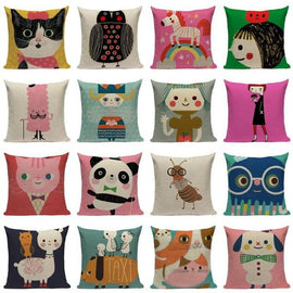 Happy Colors Cartoon Animals Cushion Covers-TipTopHomeDecor