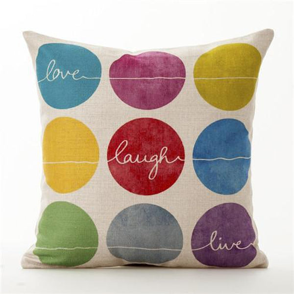 Happy Colors Quote Heart Nordic Cushion Covers-Tiptophomedecor