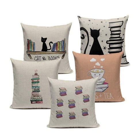 Tiptophomedecor Happy Reading Cat Cushion Covers