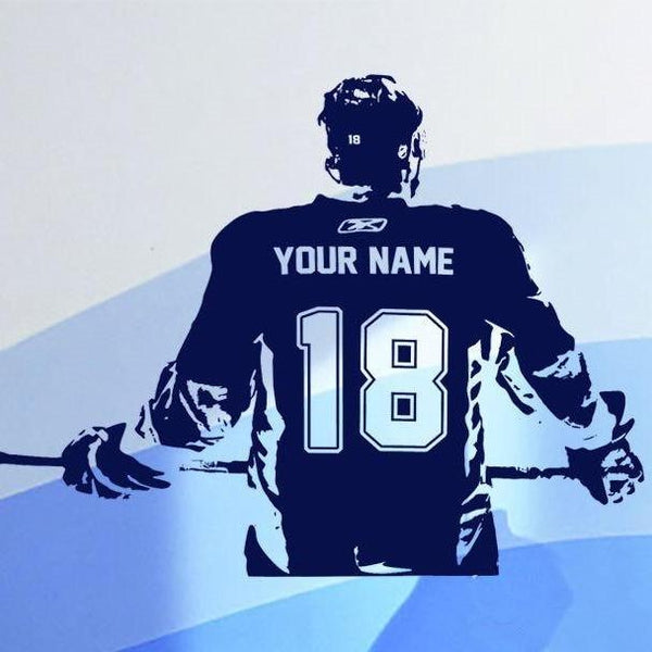 Ice Hockey Name Number Decal-Tiptophomedecor-Interior-Design-Home-Decor