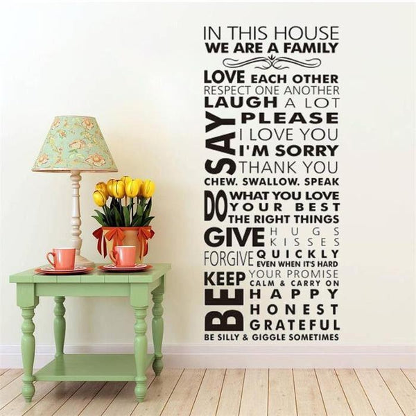 House Rules We Are Family Vinyl Wall Sticker-TipTopHomeDecor