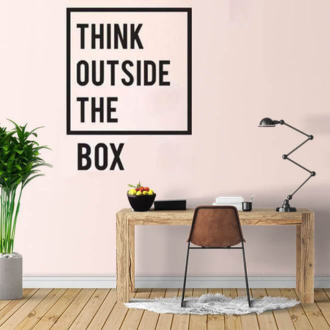 Inspirational Think Outside The Box Quote Wall Decal