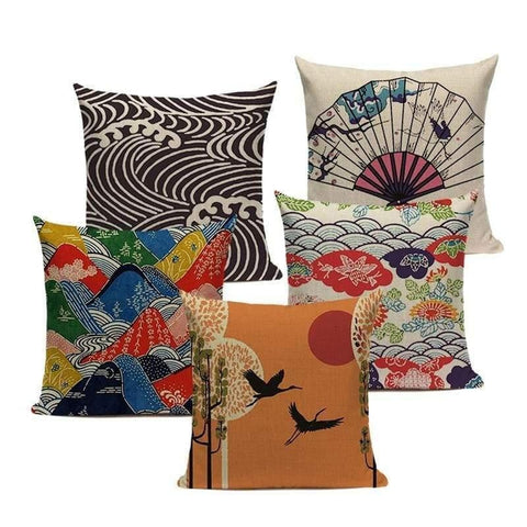 Tiptophomedecor Japanese Ukiyo Style Cushion Covers