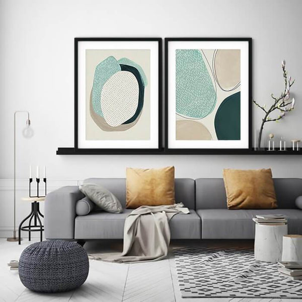 Light Blue Beige Abstract Line Dots Nordic Canvas Art Prints-TipTopHomeDecor