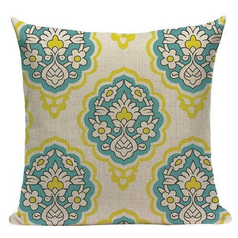 Light Blue Yellow Bohemian Throw Pillow Cases-Tiptophomedecor-Interior-Design-Home-Decor