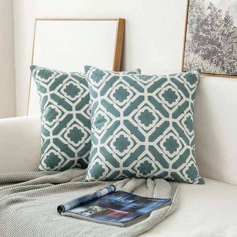 Light Grey Blue White Geometric Embroidered Throw Pillow Cases-Tiptophomedecor-Interior-Design-Home-Decor
