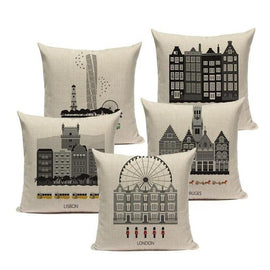 London Rome City Buildings Architecture Pillow Cases Cushion Covers-TipTopHomeDecor