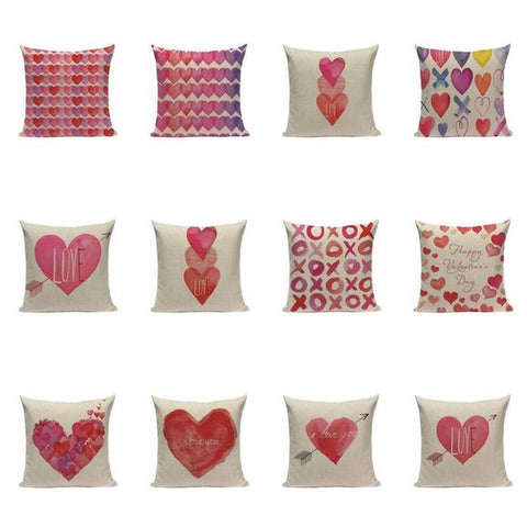 Love Heart Watercolor Pink Cushion Covers-Tiptophomedecor