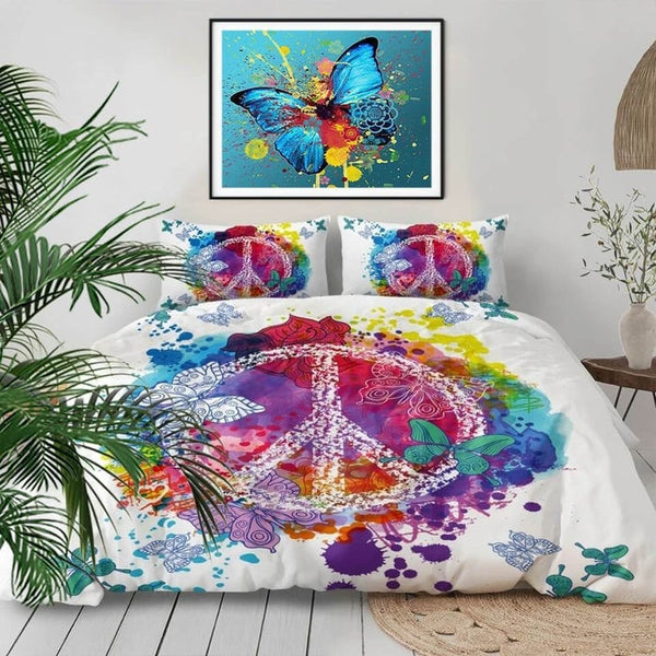 Love Peace Sign Hippie Watercolor Duvet Cover Bedding Sets-TipTopHomeDecor