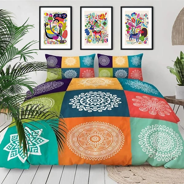 Colorful Checked Mandala Bedding