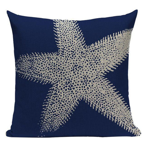 Marine Dark Blue Coral Starfish Cushion Covers-Tiptophomedecor