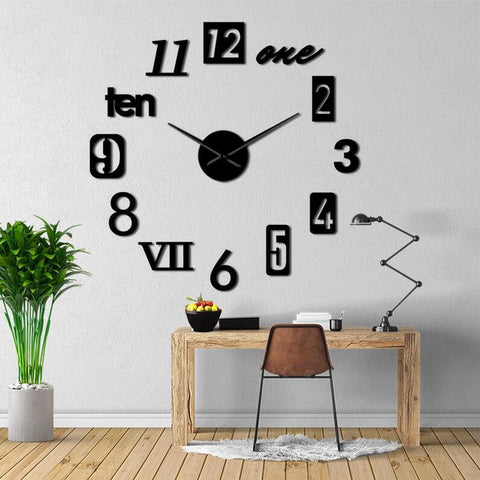 Mixed Number Styles 3D Wall Clock Decal-TipTopHomeDecor