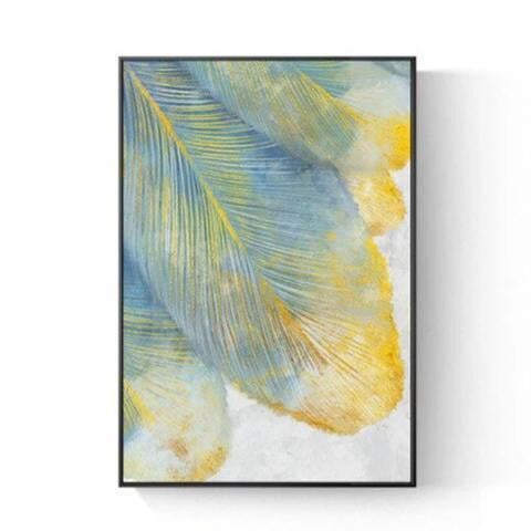 Modern Nordic White Yellow Feather Canvas Art Prints-Tiptophomedecor-Interior-Design-Home-Decor