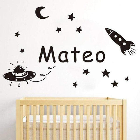 Tiptophomedecor Moon Rocket Name Sticker