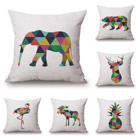 Multi Color Nordic Geometric Animal Pillow Cases-Tiptophomedecor