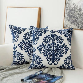 Navy Blue Geometric Pattern Embroidered Cushion Covers-Tiptophomedecor-Interior-Design-Home-Decor