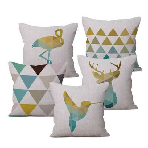 Yellow Turquoise Nordic Pillow Cases