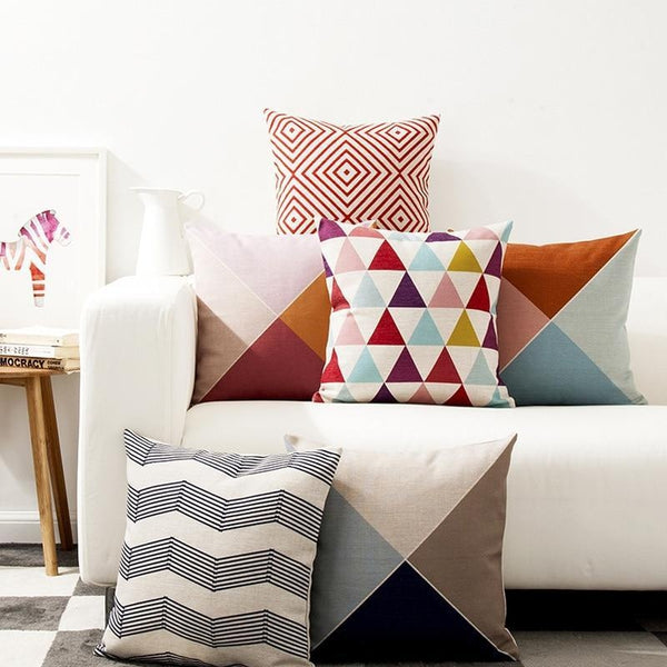Nordic Abstract Triangle Stripes Throw Pillow Cases-Tiptophomedecor