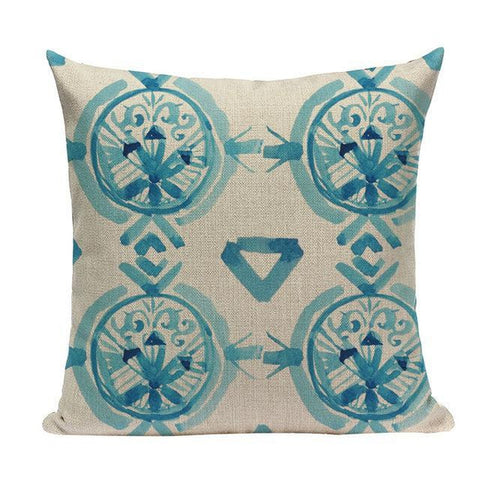 Nordic Aqua Blue Watercolor Artistic Cushion Covers-Tiptophomedecor