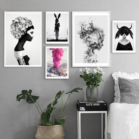 Nordic Black White Fantasy Girl Pink Cloud Canvas Wall Art-TipTopHomeDecor
