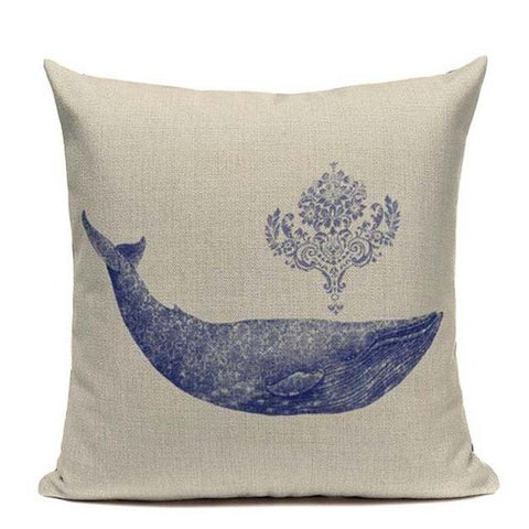 Nordic Sea Blue Fish Marine Cushion Covers-Tiptophomedecor