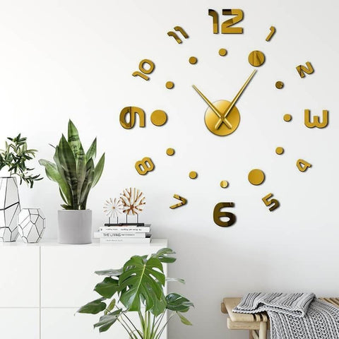 Number Dot 3D Wall Clock Decal-Tiptophomedecor-Interior-Design-Home-Decor