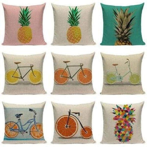 Tiptophomedecor Orange Bicycle Cushion Covers