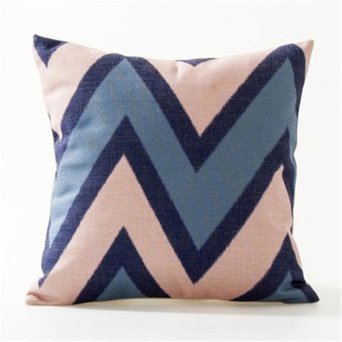 Pink Blue Stripes Flowers Nordic Sofa Throw Pillow Covers-Tiptophomedecor