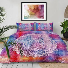 Pink Blue Watercolor White Mandala Duvet Cover Set-TipTopHomeDecor