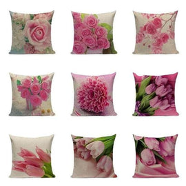 Tiptophomedecor Pink Flower Cushion Covers