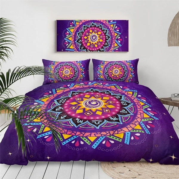 Purple Mandala Geometric Duvet Cover Bedding Set-TipTopHomeDecor