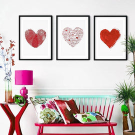 Red Heart Fingerprint Brush Canvas Art Prints-Tiptophomedecor-Interior-Design-Home-Decor
