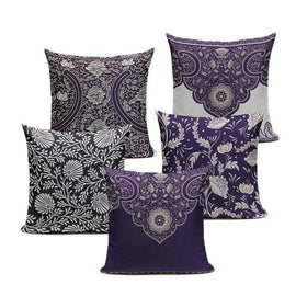Purple Retro Cushion Covers