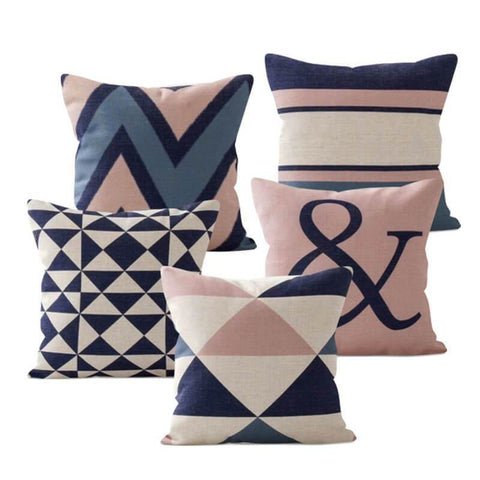 Pink Blue Pillow Covers-TipTopHomeDecor