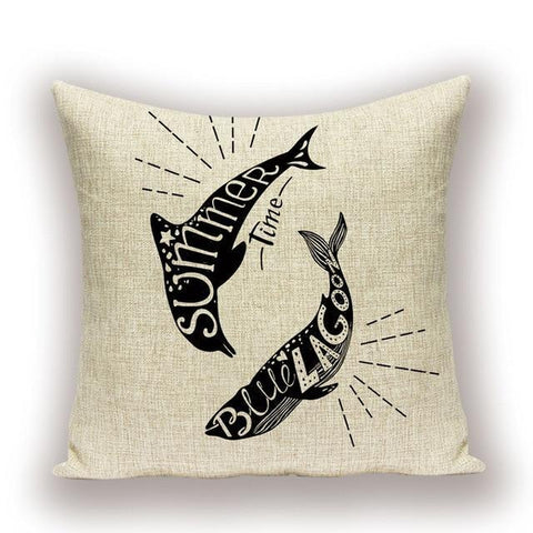 Save The Ocean No Plastic Underwater Dolphin Cushion Covers-TipTopHomeDecor