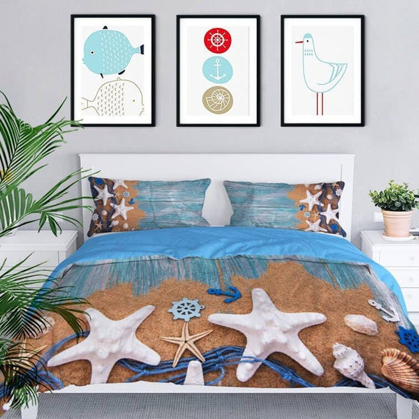 Sea Beach Driftwood Coastal Bedding Duvet Cover-TipTopHomeDecor