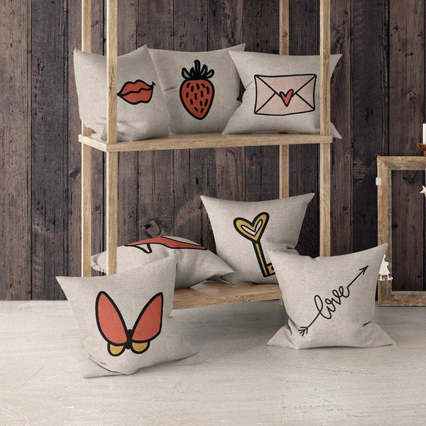 Simple Cartoon Designer Love Letter Cushion Covers-TipTopHomeDecor