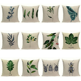 Simple Style Blue Green Botanical Insect Cushion Covers