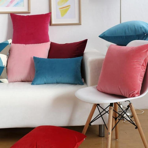 Solid Bright Colors Soft Velvet Square Cushion Covers-Tiptophomedecor
