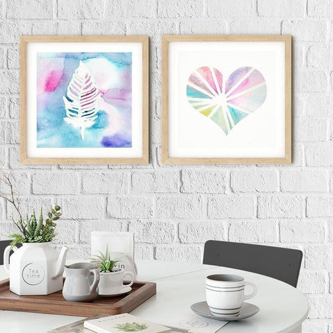 Square Nordic Happy Watercolor Canvas Wall Art Prints-TipTopHomeDecor
