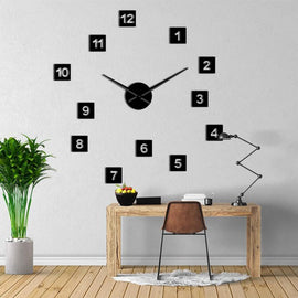 square Number 3D Big Wall Clock Decal-Tiptophomedecor-Interior-Design-Home-Decor