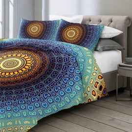 Sun Deep Ocean Rocks Mandala Bedding Duvet Cover Set-TipTopHomeDecor