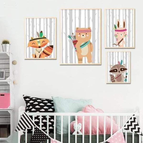 Tribal Bear Fox Bunny Art - Nursery Art Tiptophomedecor
