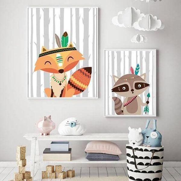 Tribal Cartoon Animal Canvas Prints-TipTopHomeDecor